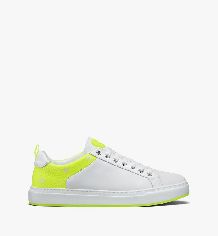 MCM Women's Flo Low-Top Sneakers in Neon Visetos White MES9ALC67WT037 Alternate View 2