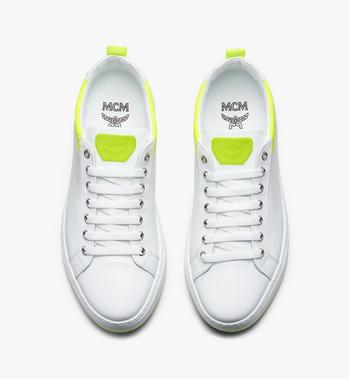 MCM Women's Flo Low-Top Sneakers in Neon Visetos White MES9ALC67WT037 Alternate View 5