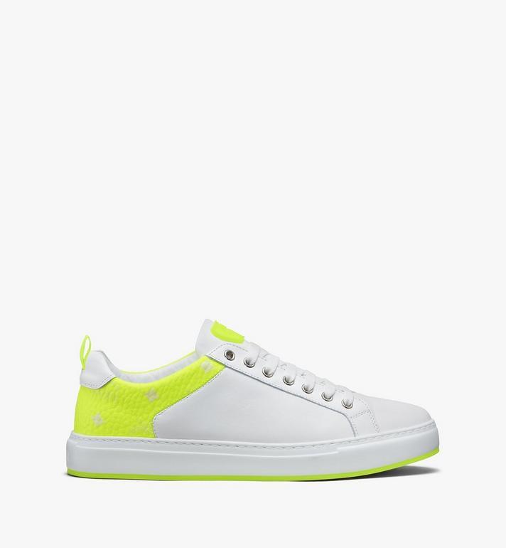 MCM Women's Flo Low-Top Sneakers in Neon Visetos White MES9ALC67WT039 Alternate View 2