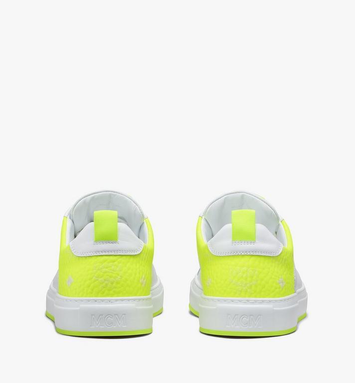 MCM Women's Flo Low-Top Sneakers in Neon Visetos White MES9ALC67WT039 Alternate View 3