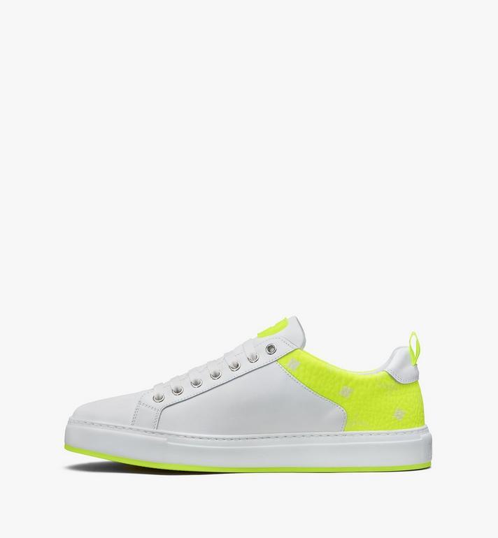 MCM Women's Flo Low-Top Sneakers in Neon Visetos White MES9ALC67WT039 Alternate View 4