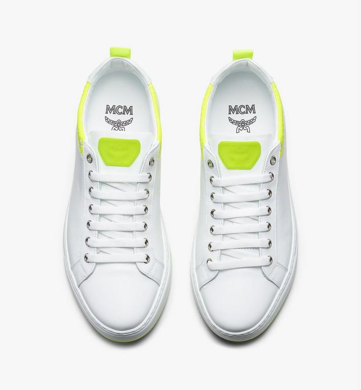 MCM Women's Flo Low-Top Sneakers in Neon Visetos White MES9ALC67WT039 Alternate View 5