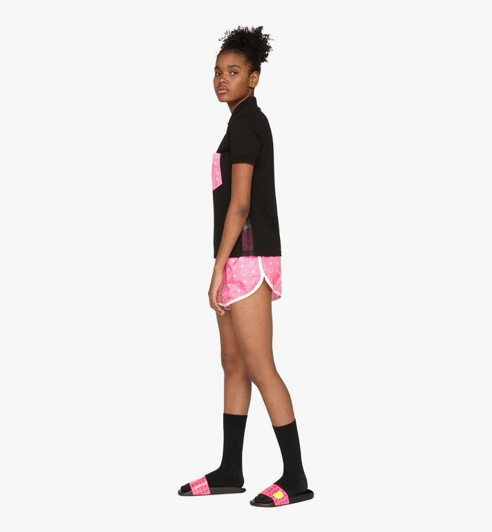 MCM Women's Flo Monogram Rubber Slides Pink MES9ALC76QP037 Alternate View 6