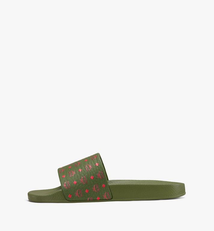 MCM Women's Monogram Rubber Slides Alternate View 4