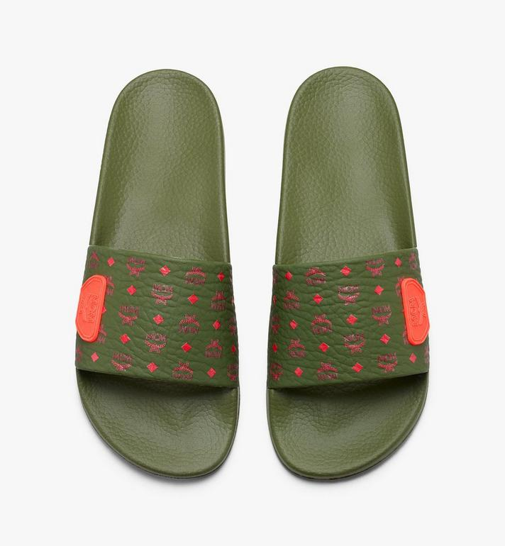 MCM Women's Monogram Rubber Slides Alternate View 5