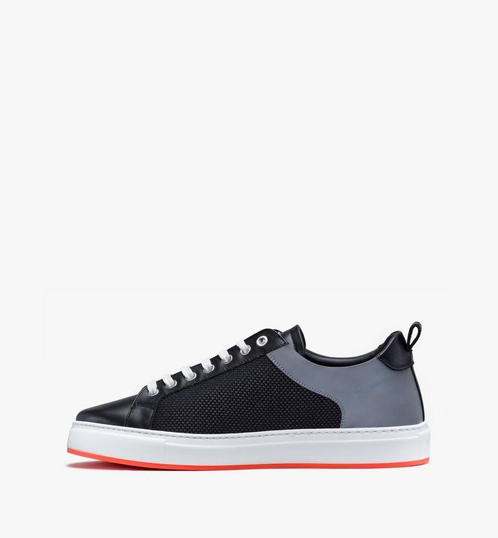 MCM Women's Resnick Low-Top Sneaker in Reflective Mesh Black MES9ARA71BK040 Alternate View 4