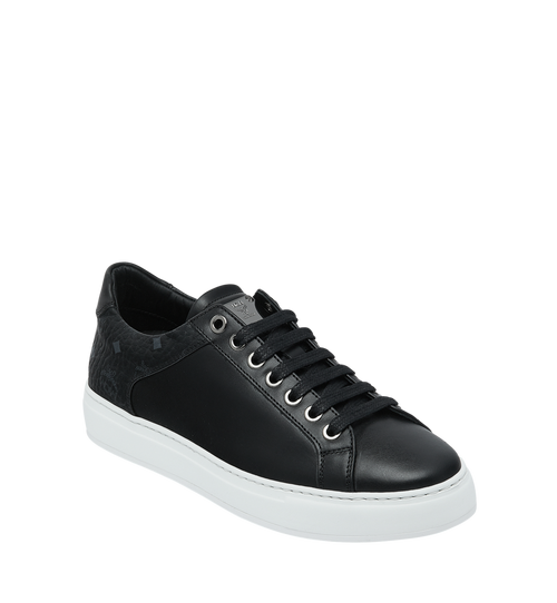 Women's Low Top Sneakers in Visetos and Leather