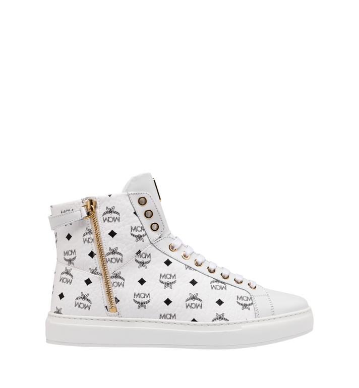 MCM Women's High-Top Classic Zip Sneaker in Visetos White MES9SMM01WT038 Alternate View 2