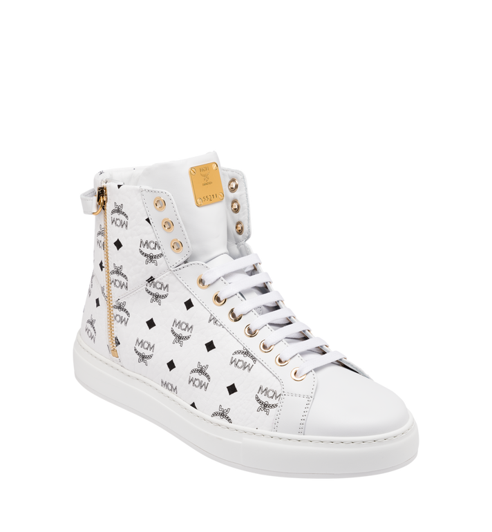MCM Women's High-Top Classic Zip Sneaker in Visetos White MES9SMM01WT040 Alternate View 1