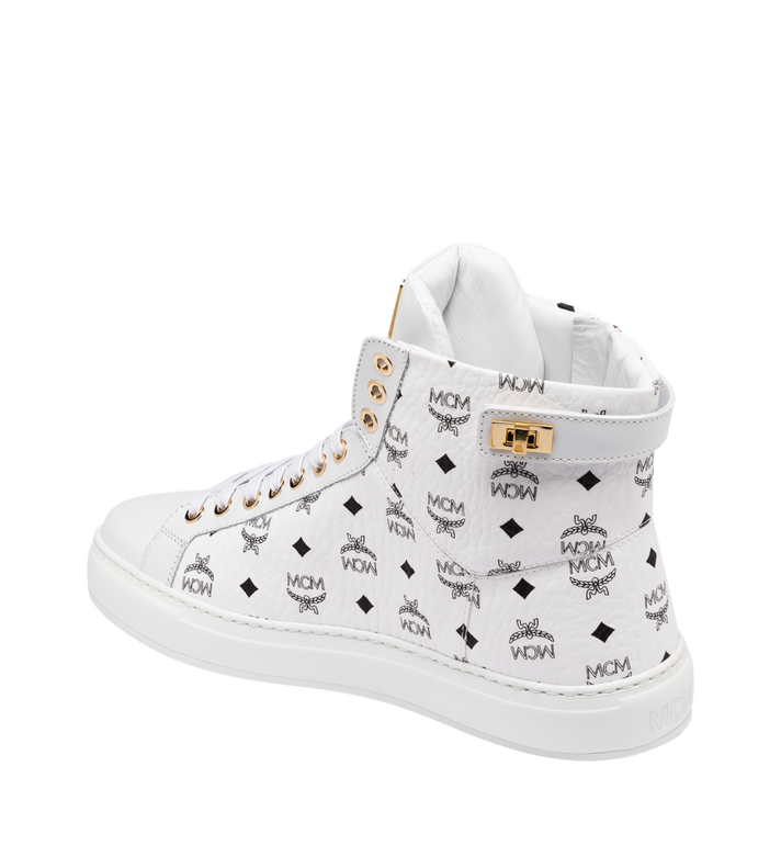 MCM Women's High-Top Classic Zip Sneaker in Visetos White MES9SMM01WT040 Alternate View 3