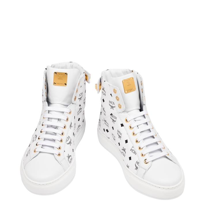 MCM Women's High-Top Classic Zip Sneaker in Visetos White MES9SMM01WT040 Alternate View 4