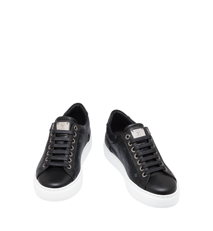 MCM Women's Classic Low Top Sneakers in Visetos Black MES9SMM03BK040 Alternate View 4