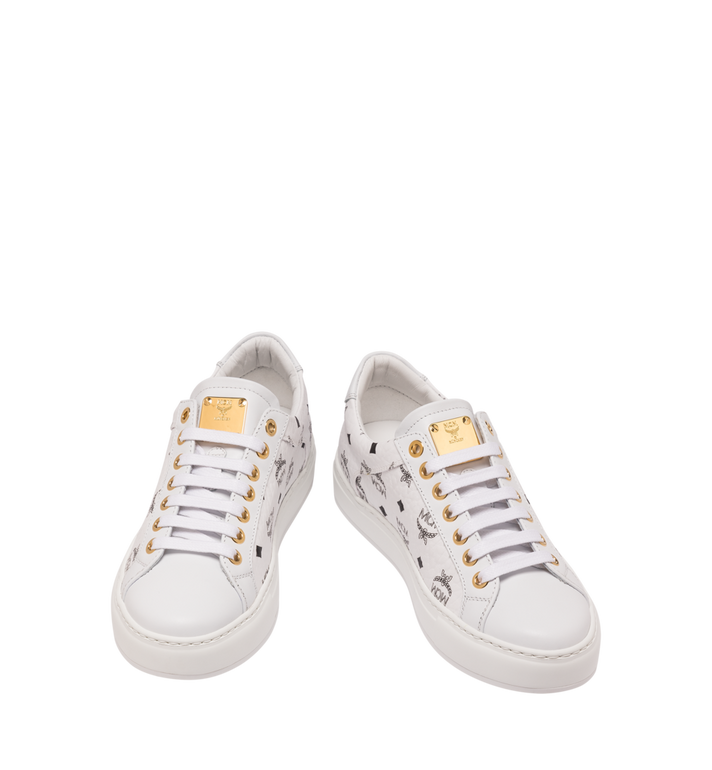 MCM Women's Low-Top Sneakers in Visetos White MES9SMM03WT038 Alternate View 4