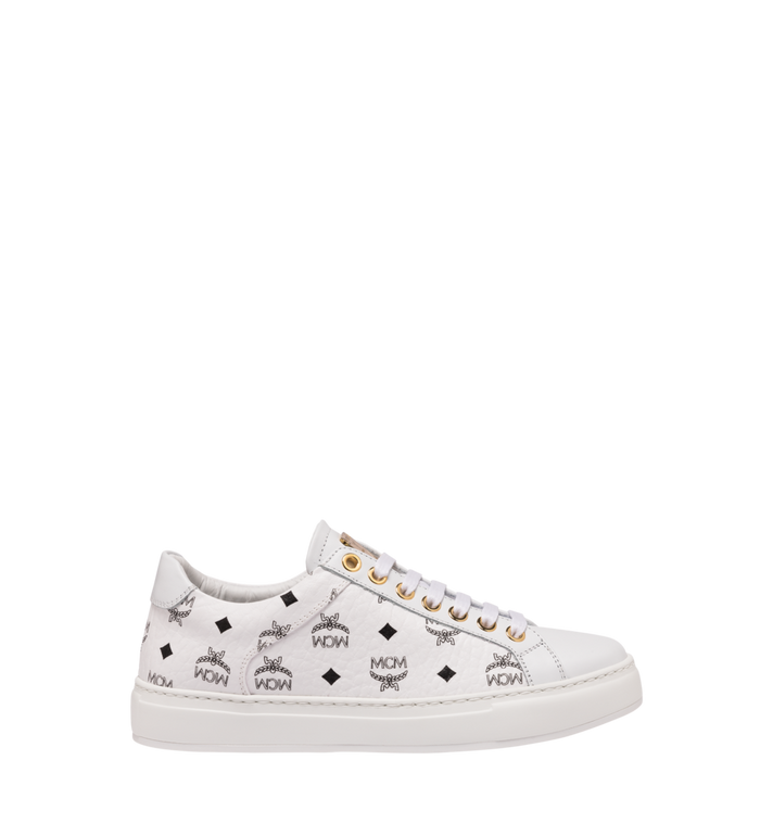 MCM Women's Classic Low Top Trainers in Visetos White MES9SMM03WT039 Alternate View 2