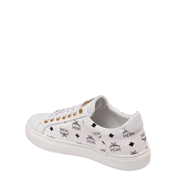 MCM Women's Classic Low Top Trainers in Visetos White MES9SMM03WT039 Alternate View 3