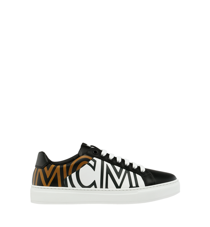 MCM Women's Low Top MCM Logo Sneakers in Leather Black MES9SMM17BK040 Alternate View 2