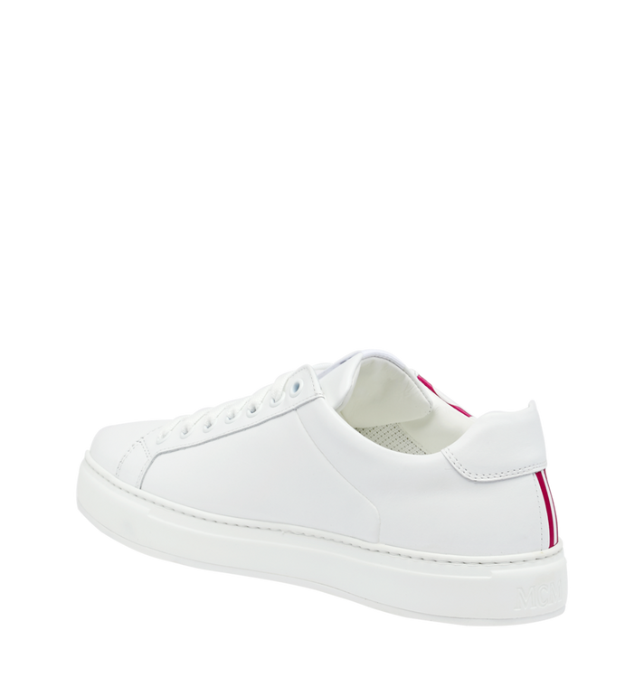 MCM Women's Low Top MCM Logo Sneakers in Leather White MES9SMM17WT040 Alternate View 3