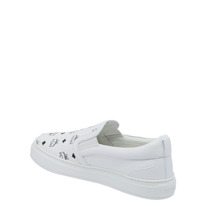 MCM Men's Visetos Slip On Sneakers White MES9SMM40WT036 Alternate View 3