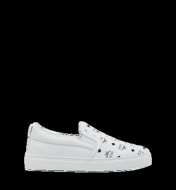 MCM Men's Visetos Slip On Sneakers White MES9SMM40WT037 Alternate View 2