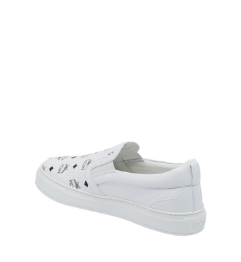 MCM Men's Visetos Slip On Sneakers White MES9SMM40WT037 Alternate View 3