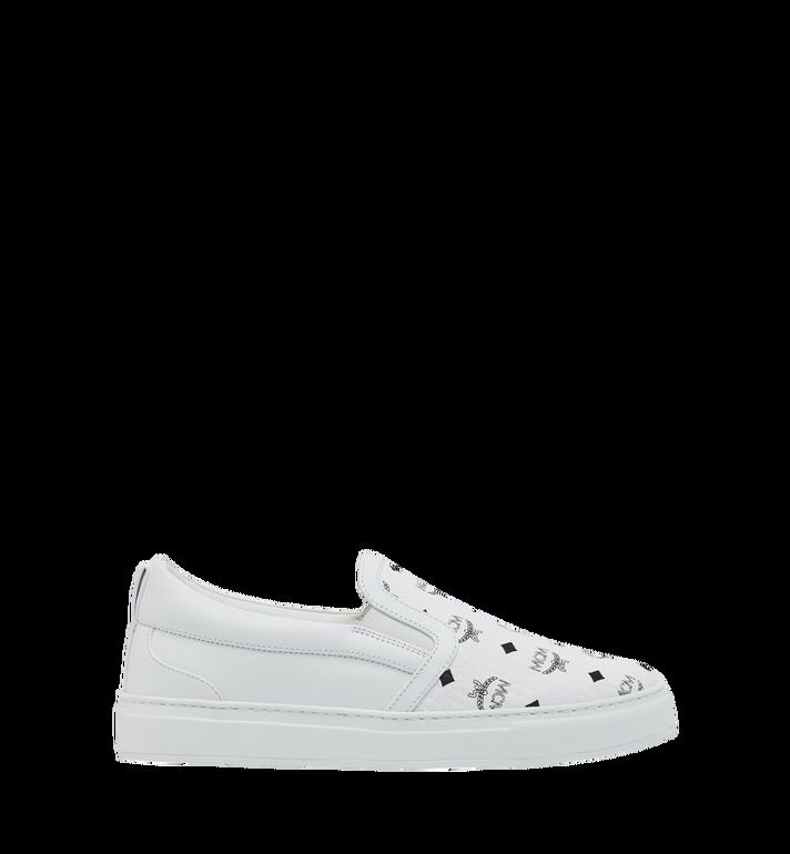 MCM Men's Visetos Slip On Sneakers White MES9SMM40WT038 Alternate View 2
