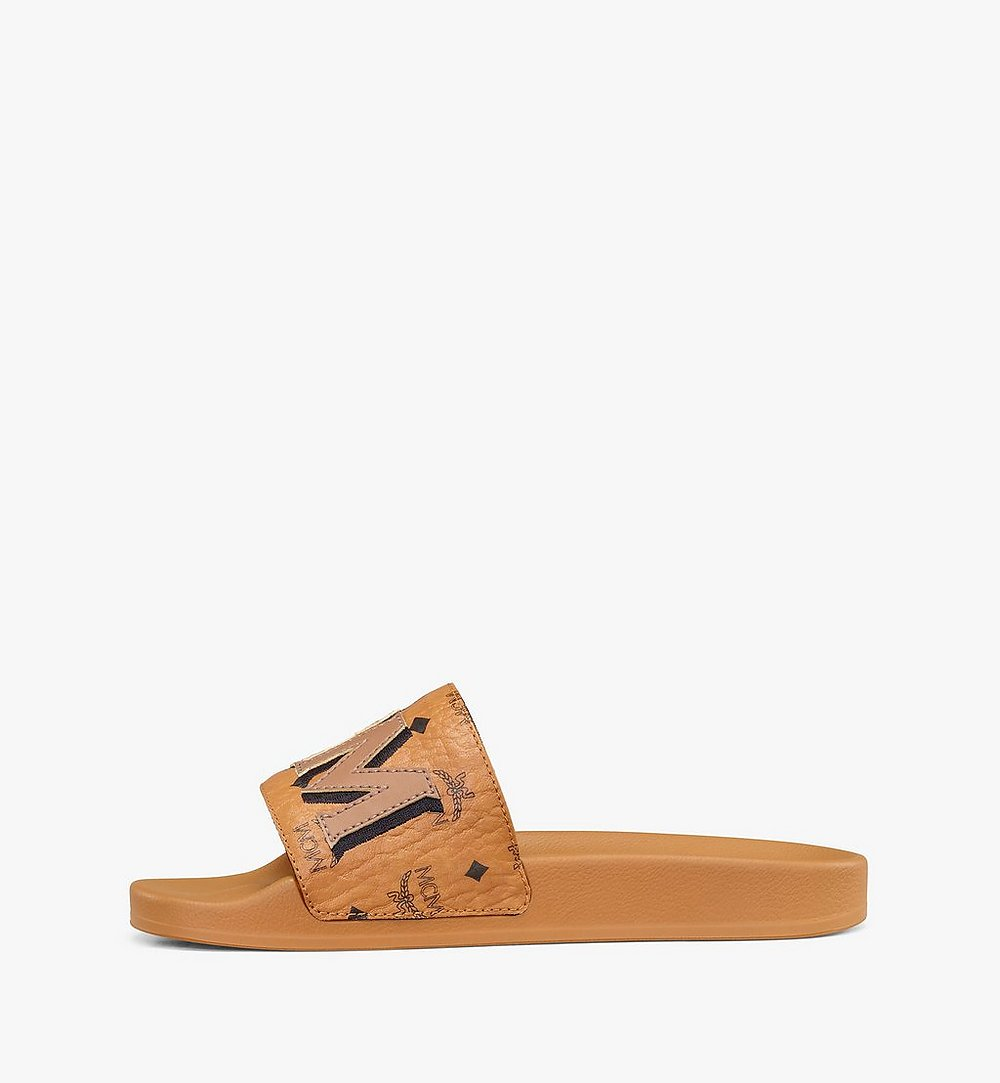 MCM Women's MCM Monogram Slides Cognac MESAAMM11CO036 Alternate View 1