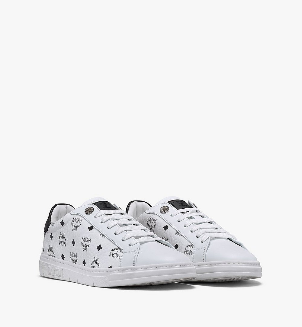 MCM Women's Terrain Lo Sneakers in Visetos White MESAAMM17WT037 Alternate View 1