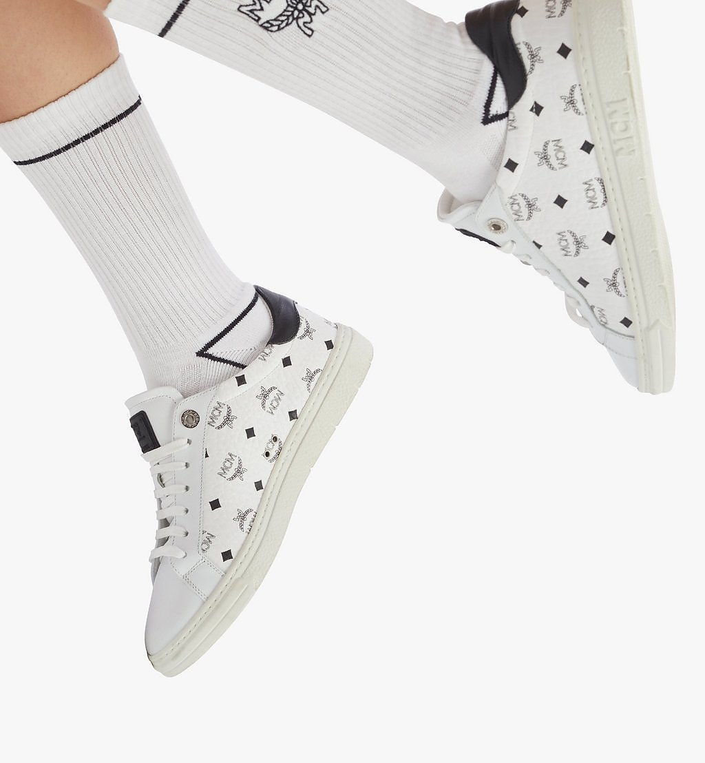 MCM Women's Terrain Lo Sneakers in Visetos White MESAAMM17WT037 Alternate View 2