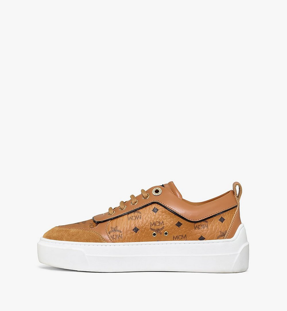 MCM Women's Skyward Platform Sneakers in Visetos Cognac MESAAMM19CO036 Alternate View 1