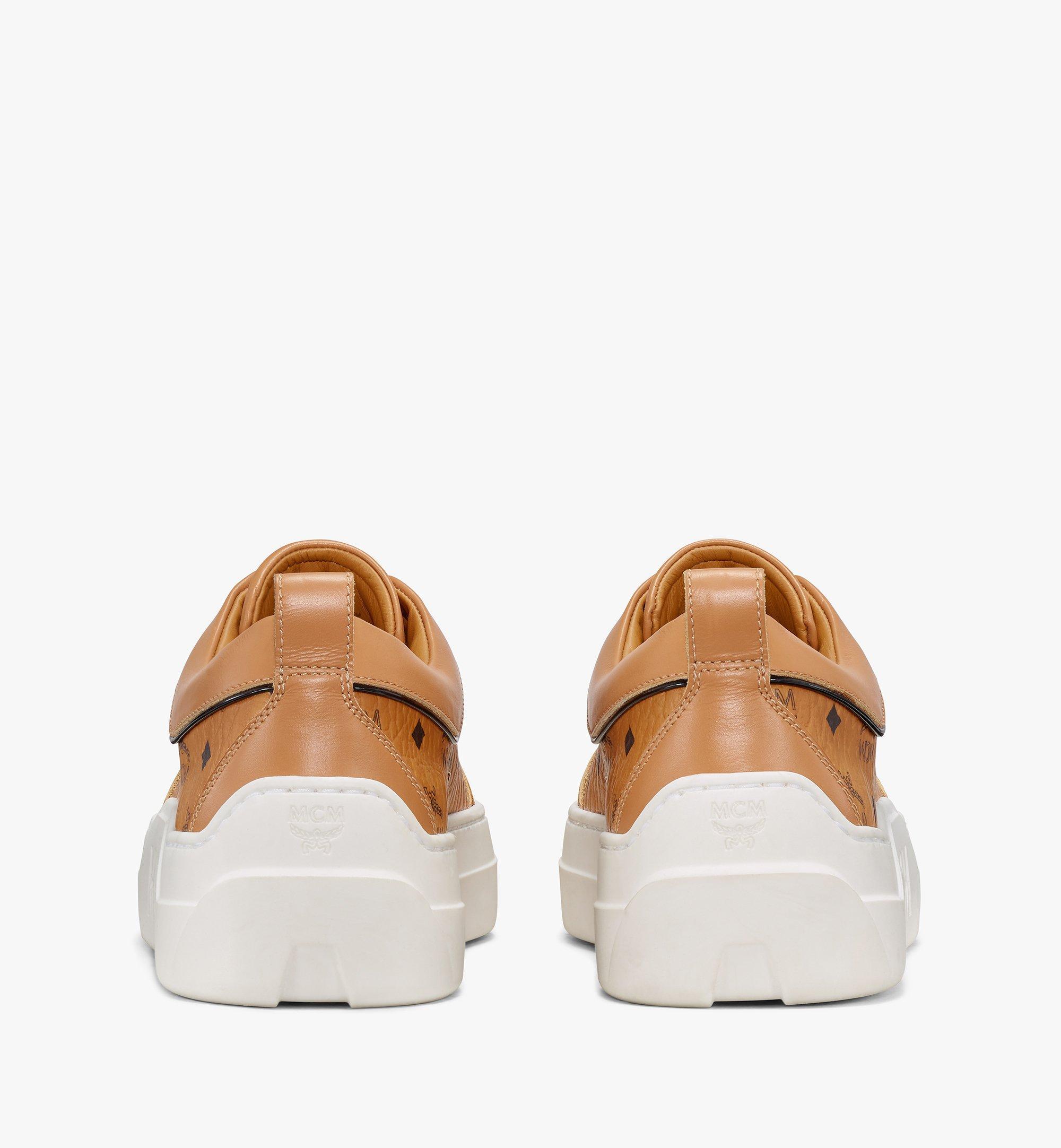 MCM Women's Skyward Platform Sneakers in Visetos Cognac MESAAMM19CO039 Alternate View 2