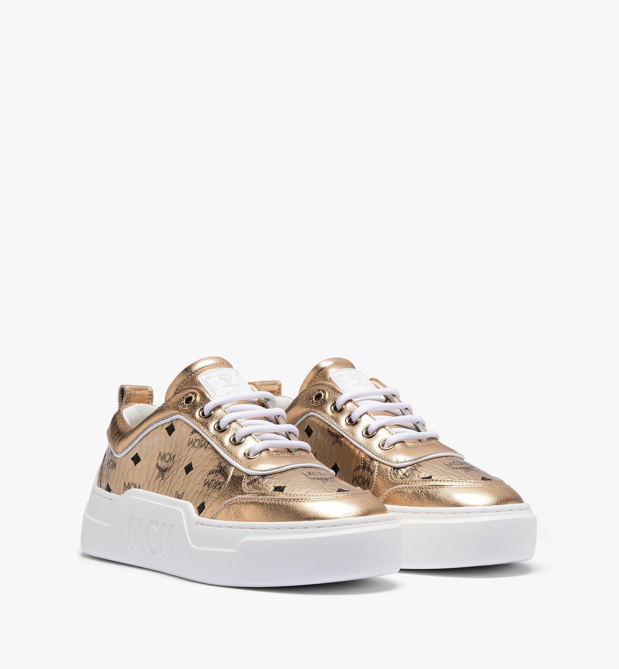 MCM Women's Skyward Platform Sneakers in Visetos Gold MESAAMM19T1035 Alternate View 1