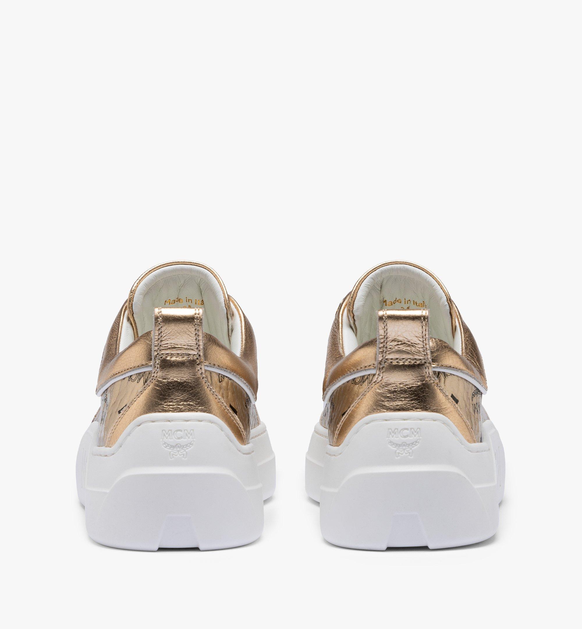 MCM Women's Skyward Platform Sneakers in Visetos Gold MESAAMM19T1035 Alternate View 2