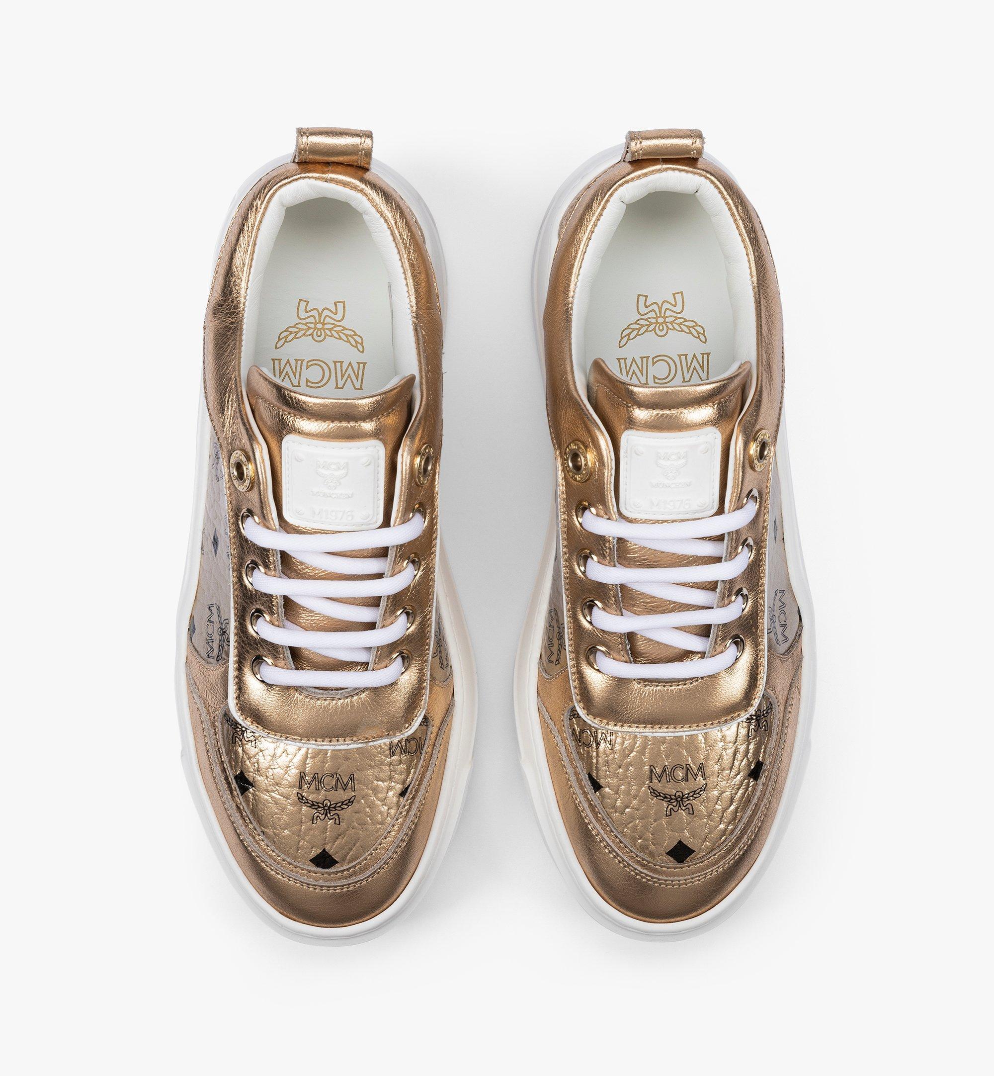 MCM Women's Skyward Platform Sneakers in Visetos Gold MESAAMM19T1035 Alternate View 4