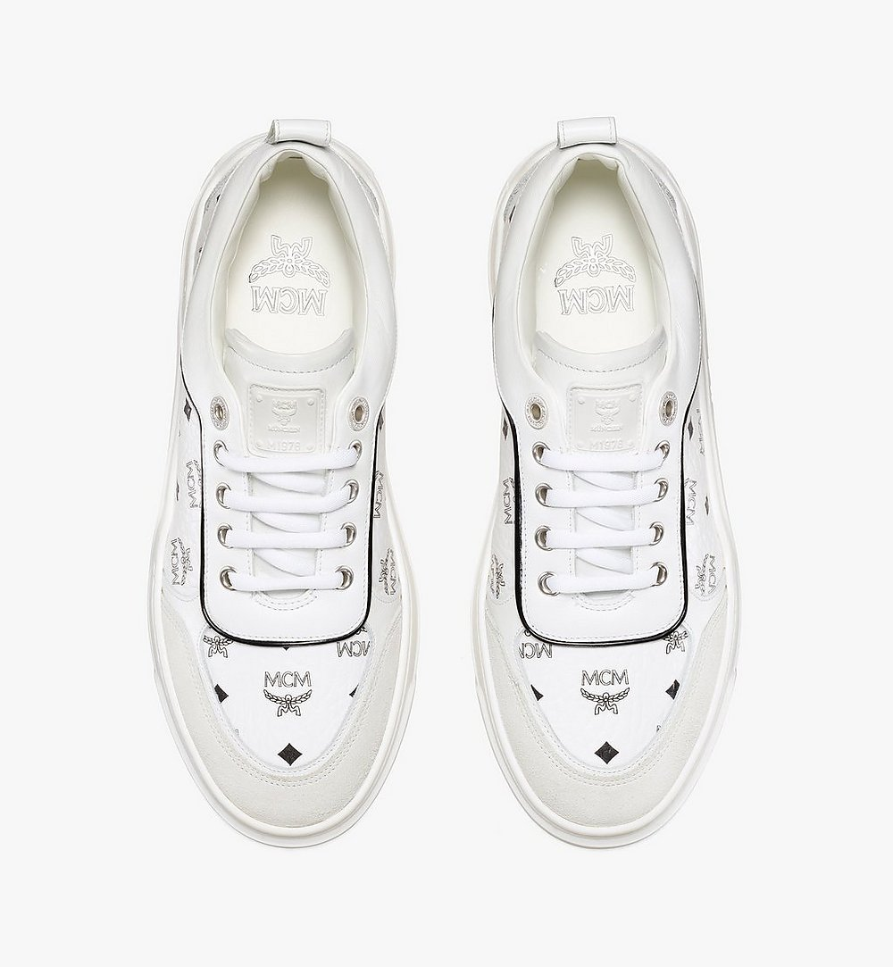 MCM Women's Skyward Platform Sneakers in Visetos White MESAAMM19WT036 Alternate View 4