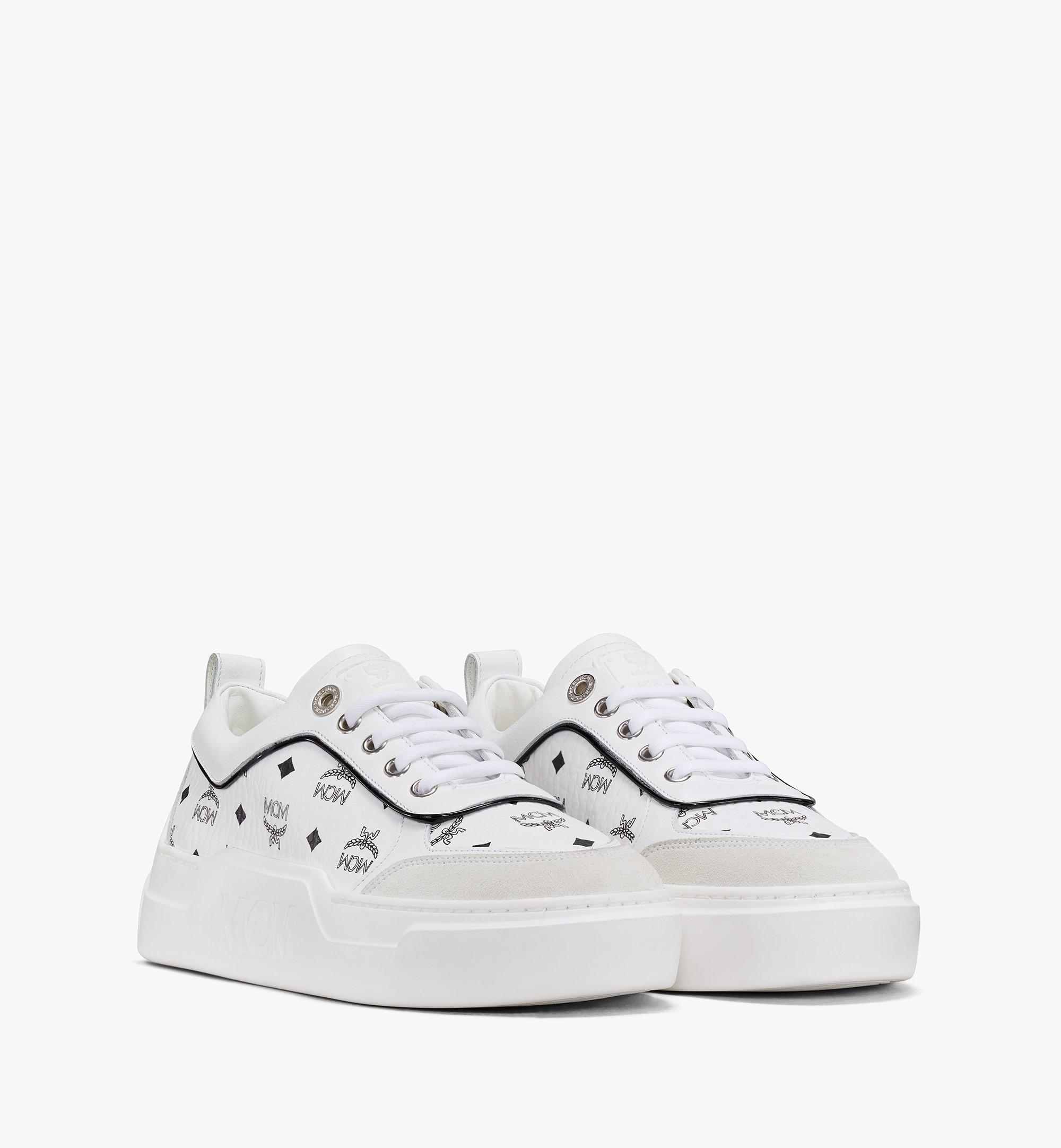 MCM Women's Skyward Platform Sneakers in Visetos White MESAAMM19WT037 Alternate View 1