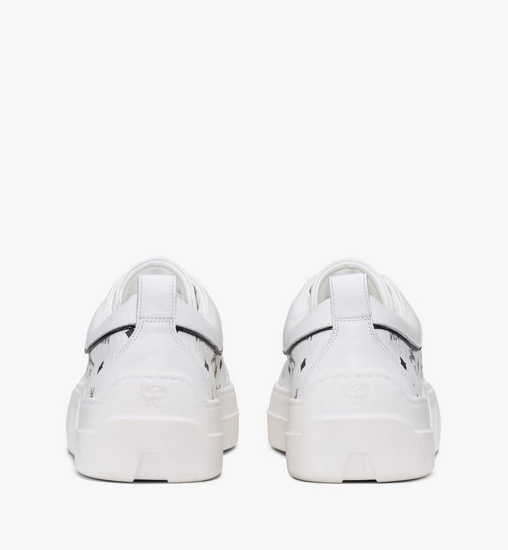 MCM Women's Skyward Platform Sneakers in Visetos White MESAAMM19WT037 Alternate View 3