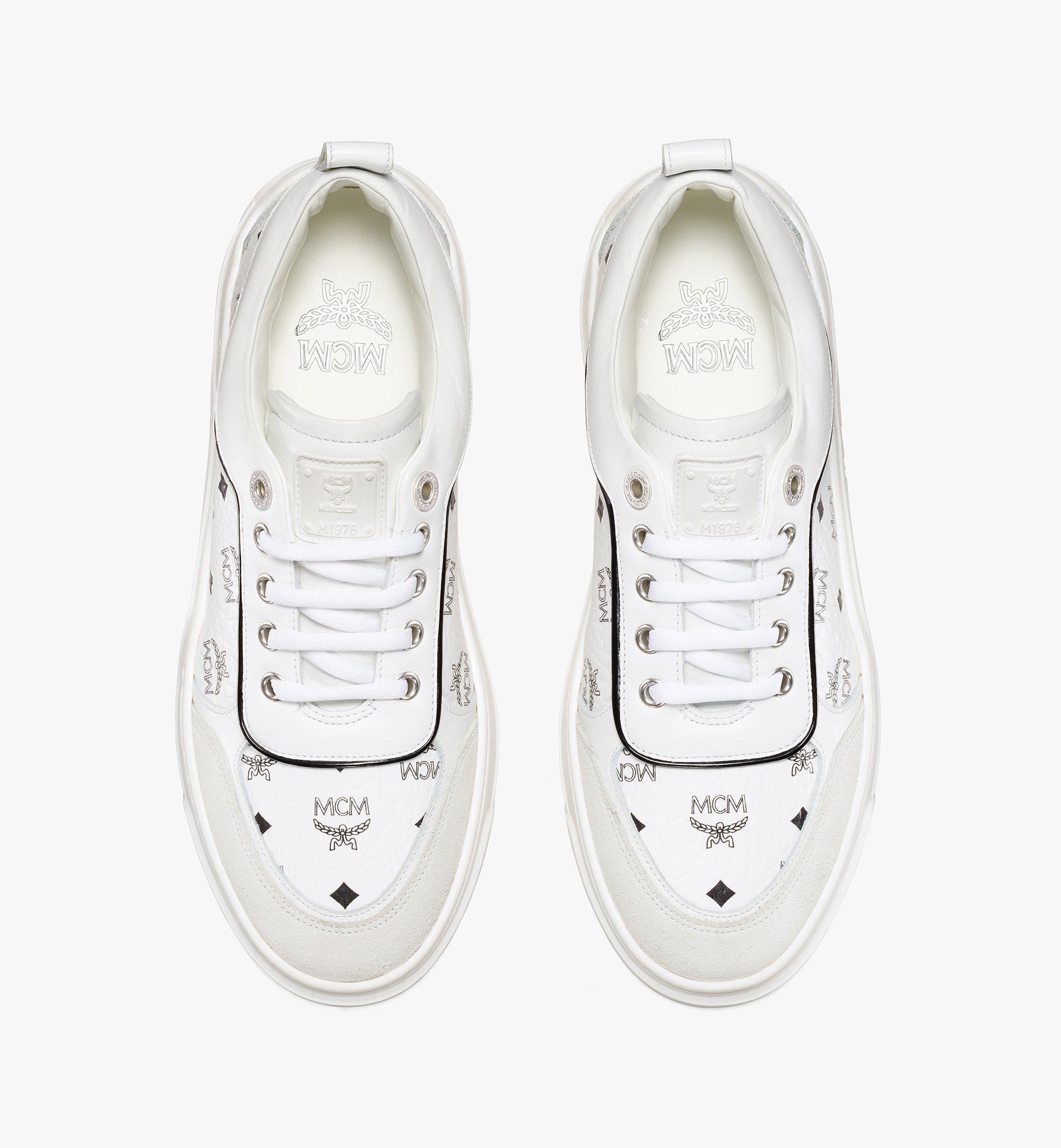 MCM Women's Skyward Platform Sneakers in Visetos White MESAAMM19WT037 Alternate View 4