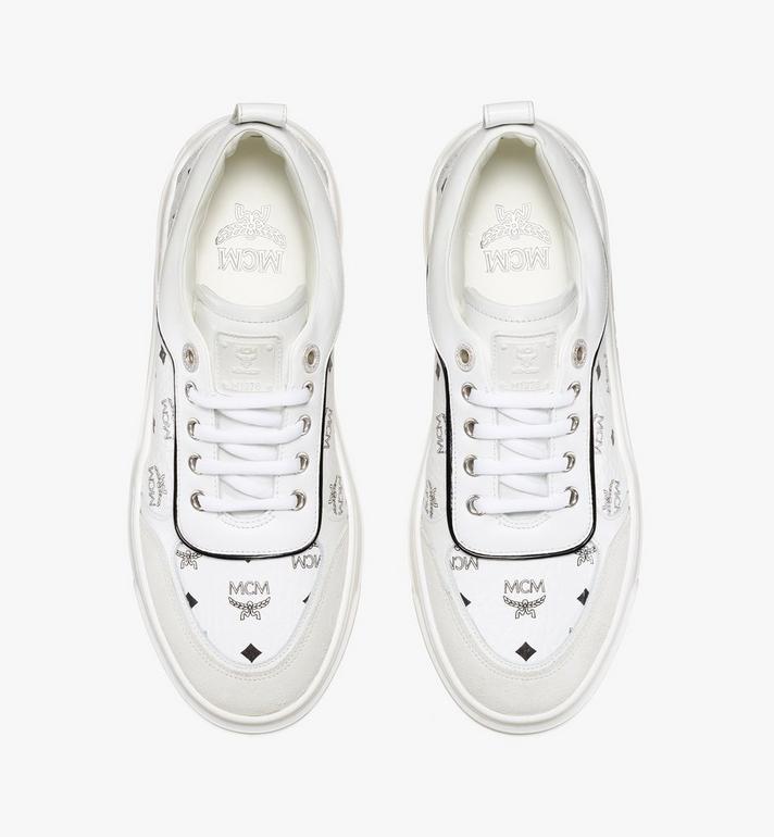 MCM Women's Skyward Platform Sneakers in Visetos White MESAAMM19WT037 Alternate View 5