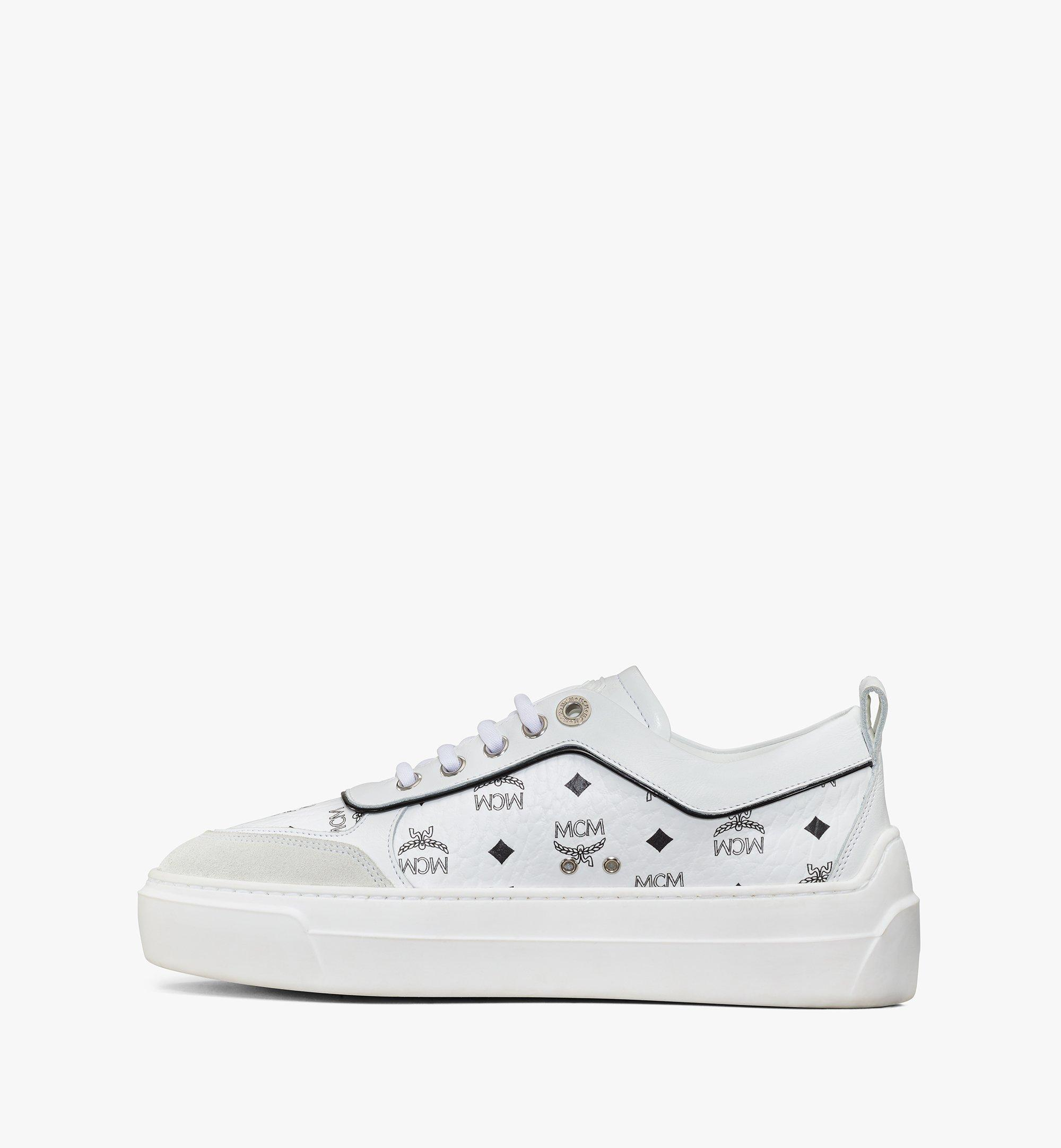 MCM Women's Skyward Platform Sneakers in Visetos White MESAAMM19WT038 Alternate View 1