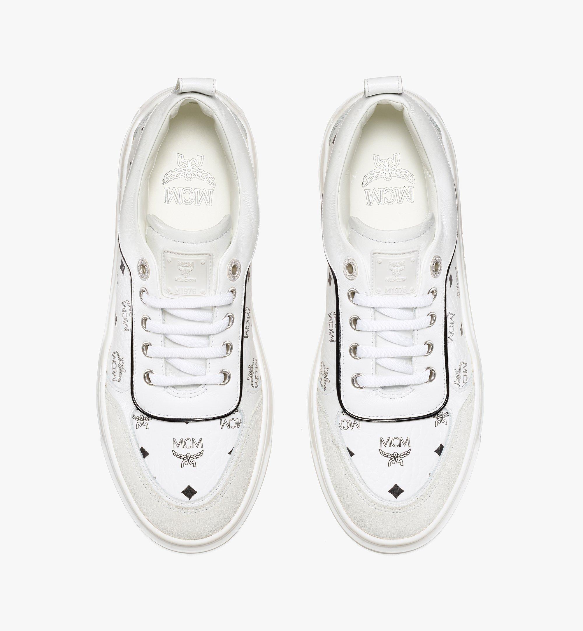 MCM Women's Skyward Platform Sneakers in Visetos White MESAAMM19WT038 Alternate View 4