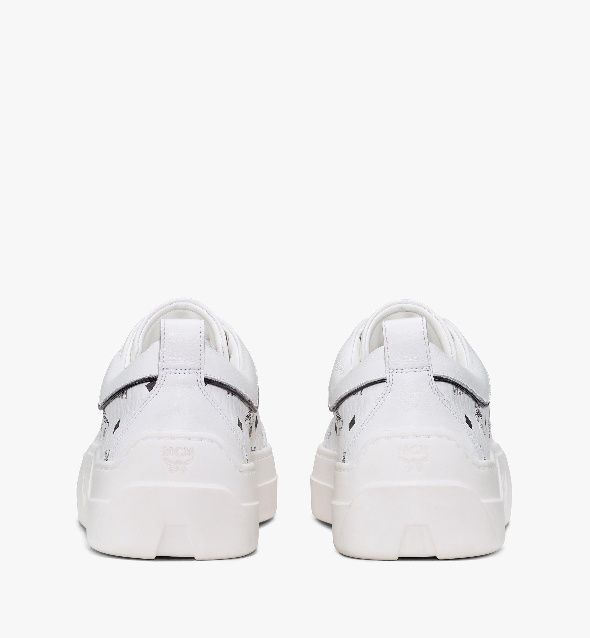 MCM Women's Skyward Platform Sneakers in Visetos White MESAAMM19WT039 Alternate View 2