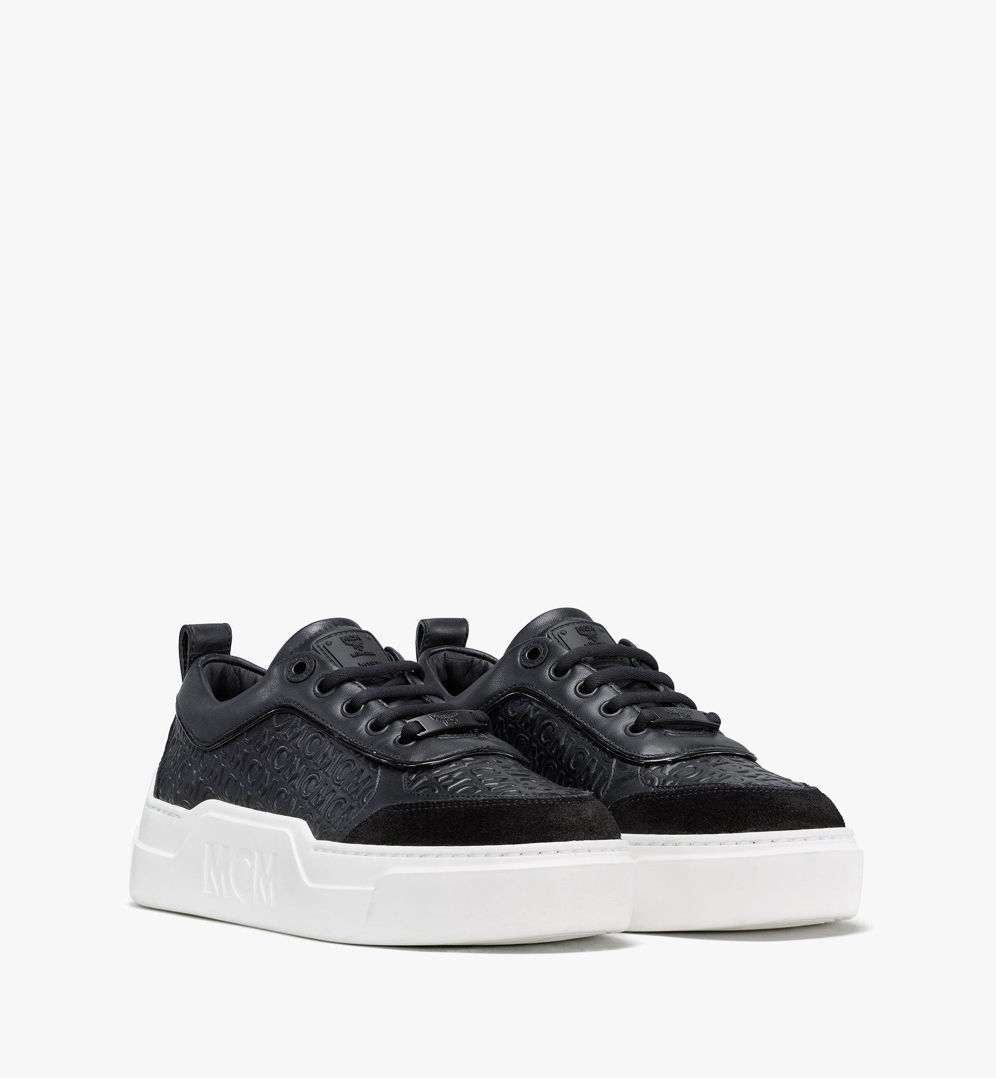 MCM Women's Skyward Platform Sneakers in Monogram Leather Black MESAAMM21BK036 Alternate View 1