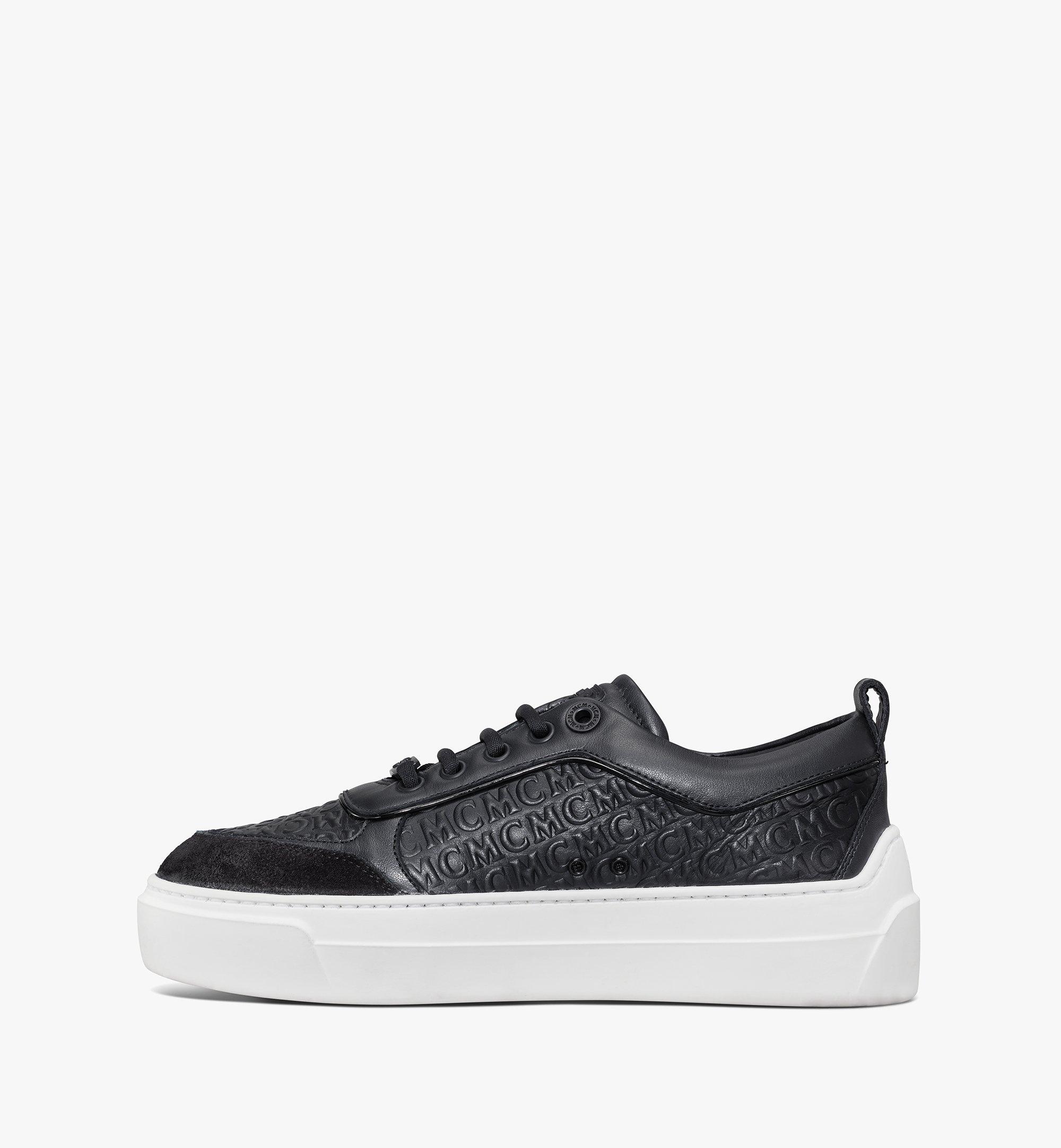 MCM Women's Skyward Platform Sneakers in Monogram Leather Black MESAAMM21BK036 Alternate View 2