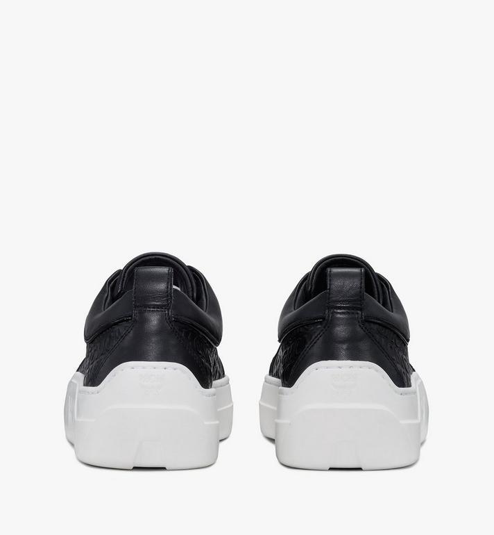 MCM Women's Skyward Platform Sneakers in Monogram Leather Black MESAAMM21BK036 Alternate View 3