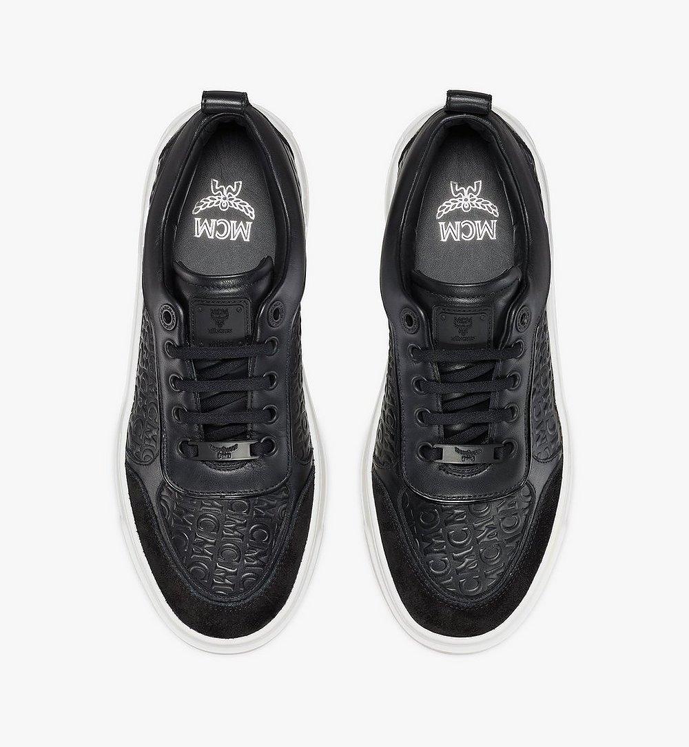 MCM Women's Skyward Platform Sneakers in Monogram Leather Black MESAAMM21BK036 Alternate View 4
