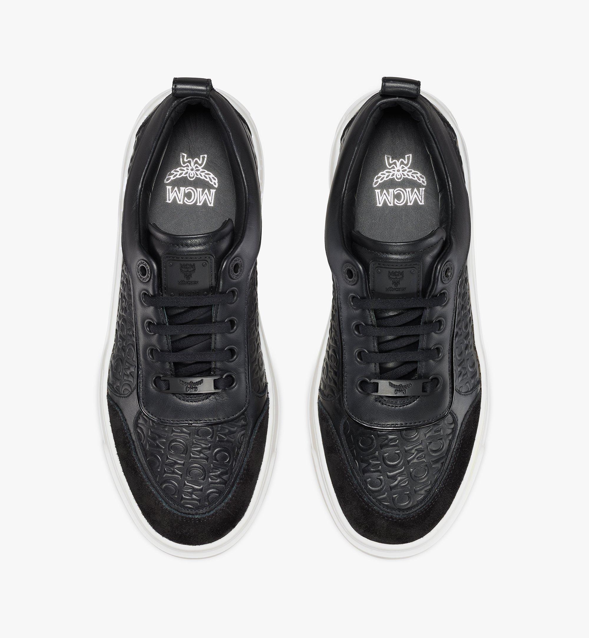 MCM Women's Skyward Platform Sneakers in Monogram Leather Black MESAAMM21BK036 Alternate View 5