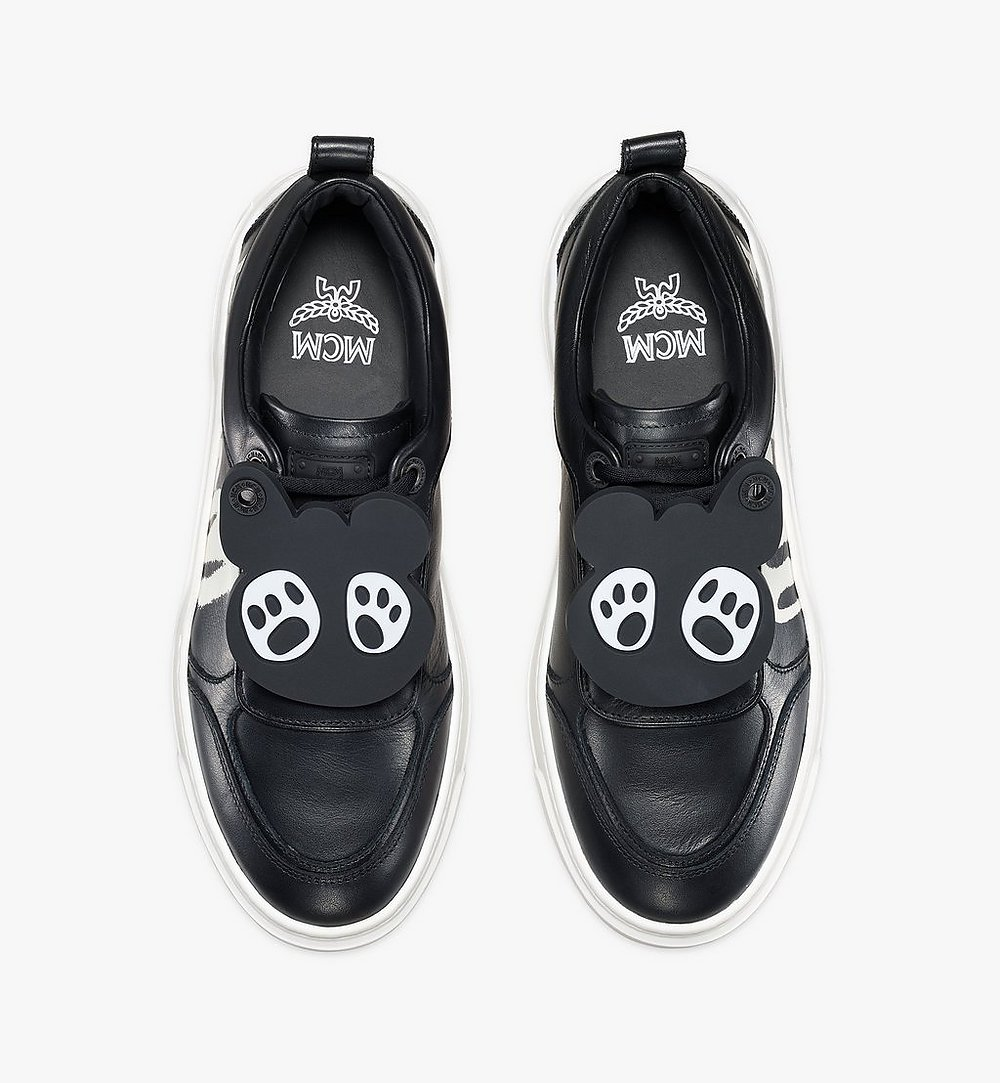 MCM Women's Skyward Platform Sneakers with Bear Charm Green MESAAMM22BK037 Alternate View 4