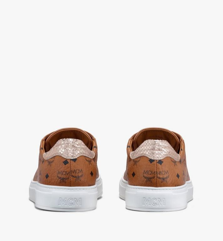 MCM Women's Low-Top Sneakers in Visetos Cognac MESASMM14CO039 Alternate View 3