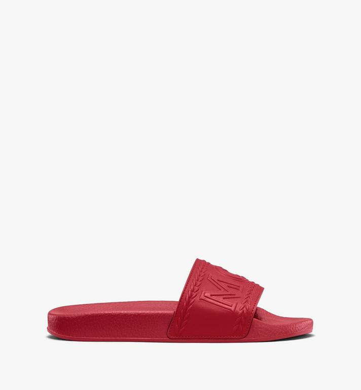 MCM Women's Big Logo Slides Red MESASMM24R4035 Alternate View 2