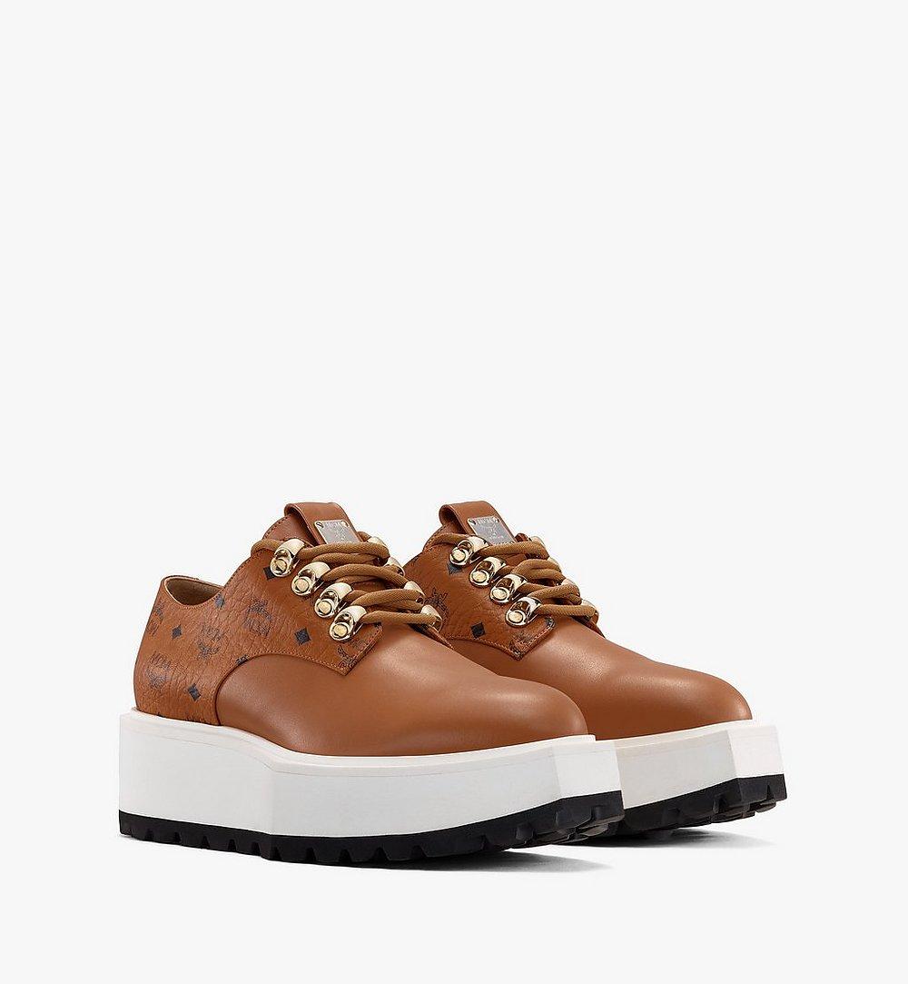 MCM Women's Platform Shoes in Visetos Cognac MESASMM30CO036 Alternate View 1